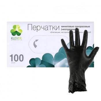 Перчатки виниловые черные M, L 100 шт