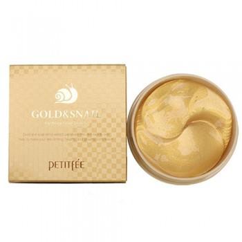 Гидрогелевые патчи для кожи вокруг глаз, с золотом и экстрактом слизи улитки Gold & Snail Hydrogel Eye Patch PETITFEE