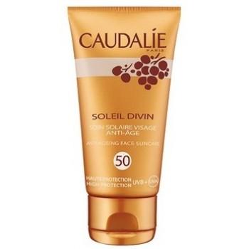 Антивозрастной солнцезащитный уход для всех типов кожи Soleil divin anti-ageing face suncare SPF 50 Caudalie