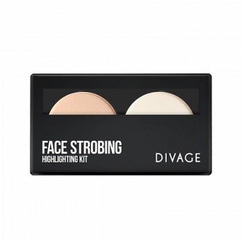 Палетка Face Strobing: пудра для лица хайлайтер и пудра для лица фиксирующая Divage