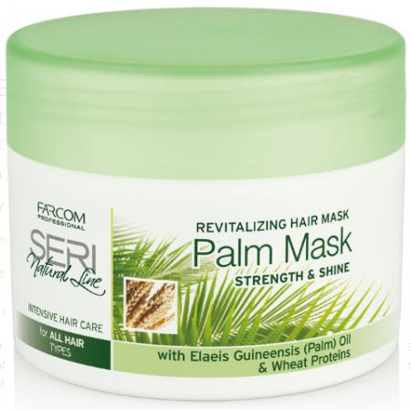 """Восстанавливающая маска для всех типов волос с пальмовым маслом и пшеничными протеинами""""Упругость и блеск"""" Seri Natural Line Farcom"""