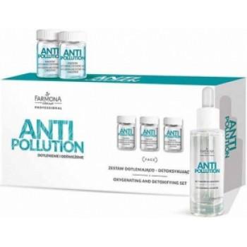 Anti Pollution Набор: насыщающий кислородом и детоксифицирующий концентрат для кожи лица, шеи и декольте + активный концентрат  Farmona Professional