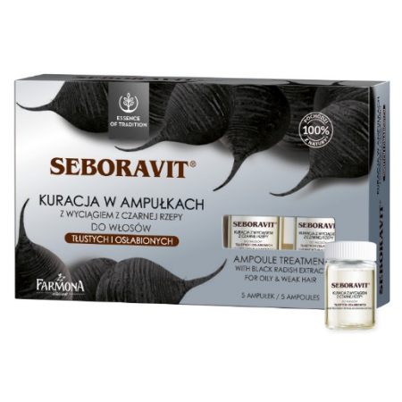 Seboravit Концентрат для жирных и слабых волос с черной редькой в ампулах Farmona