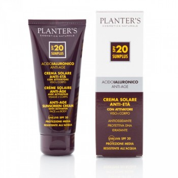 """""""гиалуроновая кислота"""" Cолнцезащитный антивозрастной крем для лица и тела с активатором загара SPF 20 Planters"""